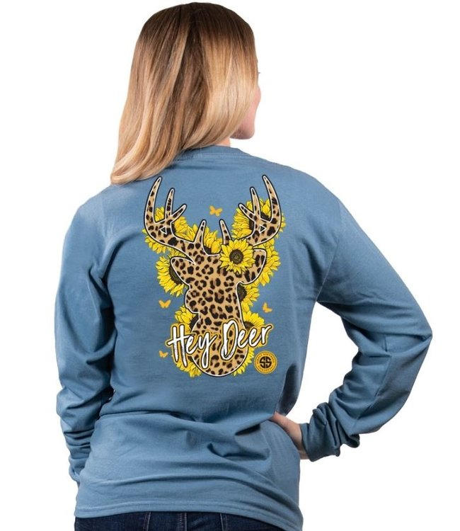 SIMPLY SOUTHERN Adult SS LS Hey Deer Sunflower Leo