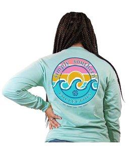 SIMPLY SOUTHERN T-Shirt Logo Wave LS Celadon
