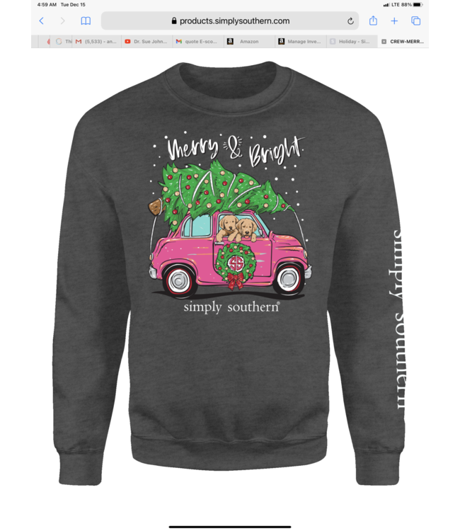 SIMPLY SOUTHERN Adult Crew Merry and Bright