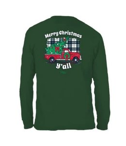 CHLOE LANE T-Shirt Plaid Christmas Yall LS Forest Green