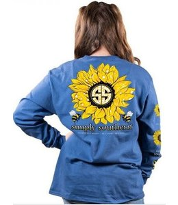 SIMPLY SOUTHERN Youth LS SS Sunflower Midnight