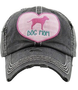 DOG MOM HEART DISTRESSED BALL CAP
