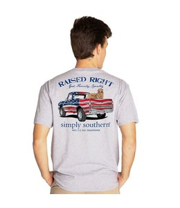 "SIMPLY SOUTHERN T-shirt Simply Southern Truck ""Raised Right""  Heather Gray"