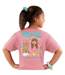 SIMPLY SOUTHERN T-shirt Youth SS Sandy Paws Salty Kisses Rose