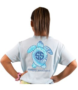 SIMPLY SOUTHERN T-shirt Youth SS Save Logo Tie Dye Blue Ice