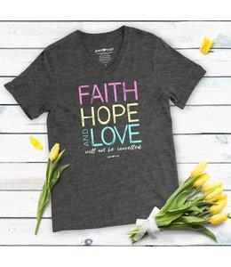 GRACE AND TRUTH T-shirt Faith Hope Love V-neck Dark Heather
