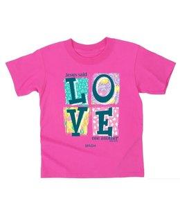 KIDZ T-Shirt Love Blocks Safety Pink