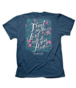 CHERISHED Girl T-shirt Trust Script Lord Indigo