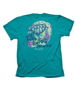 CHERISHED Girl T-Shirt Turtley Love Tropical Blue