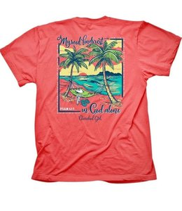 CHERISHED Girl T-Shirt Beach Hammock Psalm 62:1 Coral silk