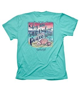 CHERISHED Girl T-Shirt Sky Above Sand Below Celadon Green