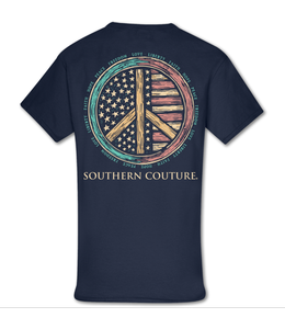 Southern Couture T-shirt SC Classics Patriotic Peace Sign Navy