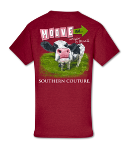 Southern Couture T-shirt SC Classic Move On Cow Cherry Red