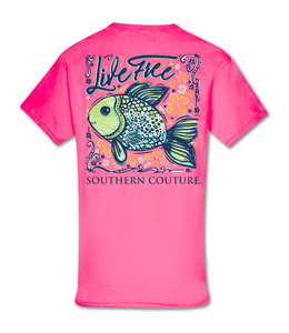 Southern Couture T-shirt SC Classic Live Free Safety Pink