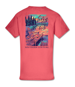 Southern Couture T-shirt SC Classic Livin on Lake Time Coral