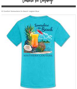 Southern Couture T-shirt SC Comfort Somewhere On Beach Lagoon Blue