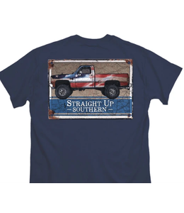 STRAIGHT UP SOUTHERN T-shirt Rusted PATRIOTIC TRUCK SUS Short Slv