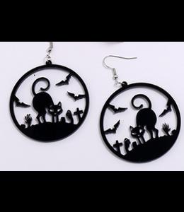 """Earrings Halloween Cat Acrylic 1.8"""" Pierced"""