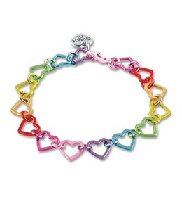 Charm It RAINBOW HEART LINK BRACELET CIB923