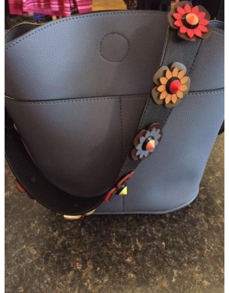 Blue Bucket Purse with Floral Strap