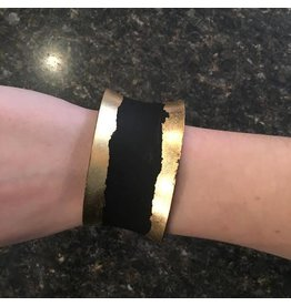 Black Metal Bracelet with Gold Paint