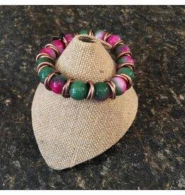 Green/Pink Beaded Bracelet