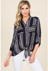 Gauze Stripe Print Top