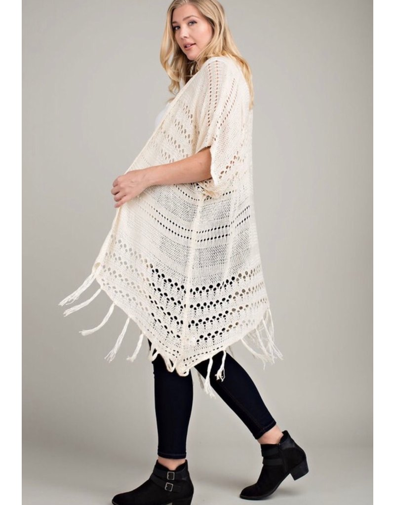 Crochet Cardigan with Fringe Hem