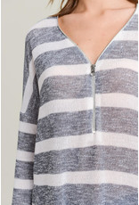 Knit Front Zipper Top