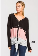 Black, Pink, & Grey Striped Front Tie Top
