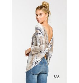 LATA Snake Skin Knot Back Top