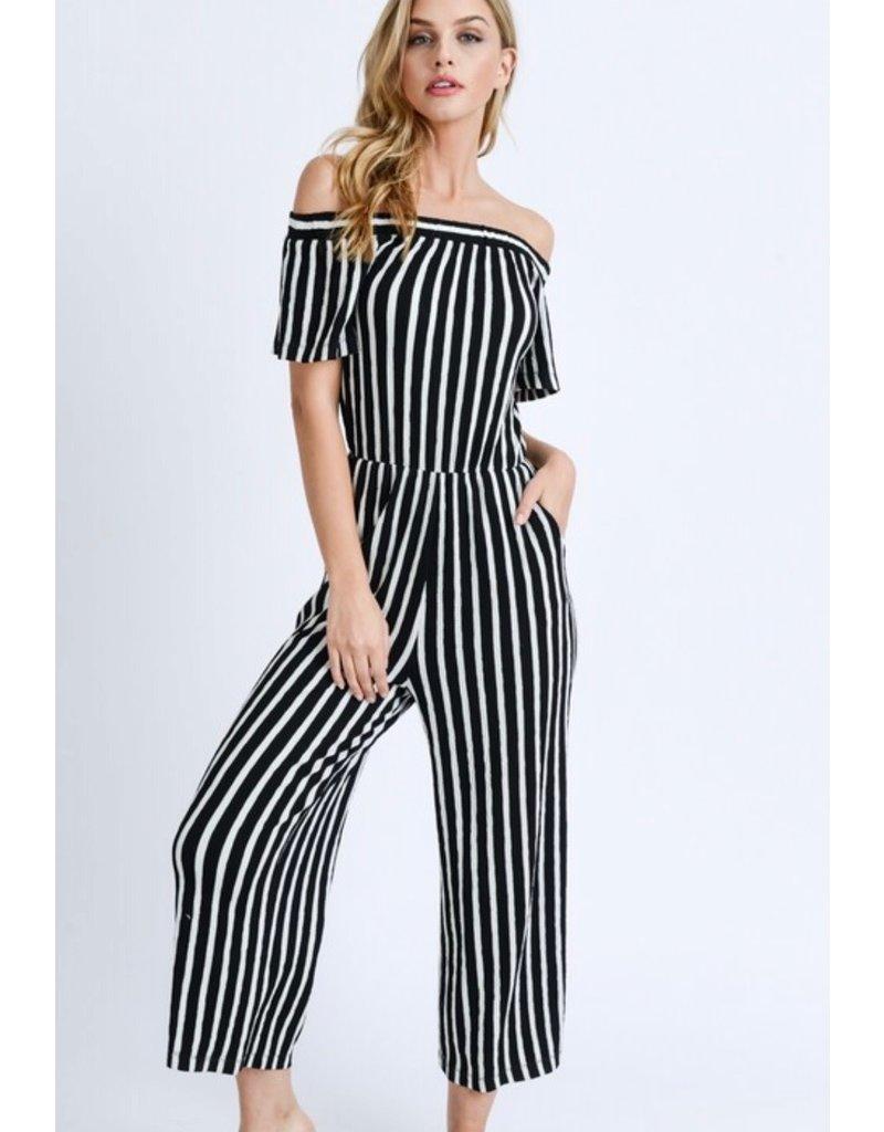 Black & White Stripe Jumpsuit