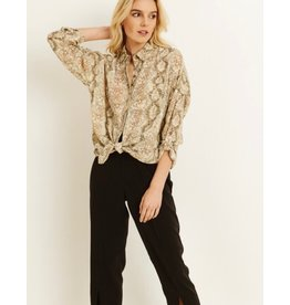 Snakeskin Print Button Down Blouse