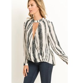 Vertical Stripe Choker Blouse
