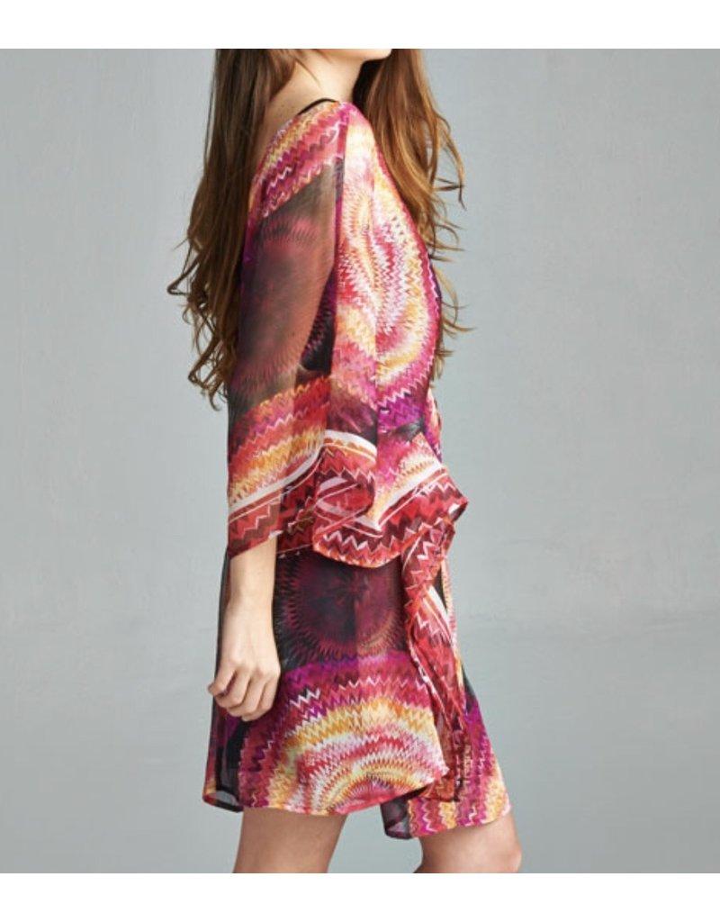 Raspberry Belted Kimono