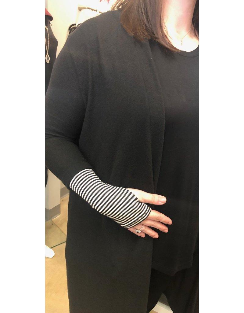 Striped Sleeve Thumb Hole Cardi