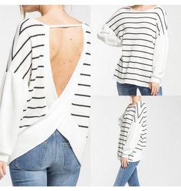 White/Black Stripe Bubble Sleeve Top