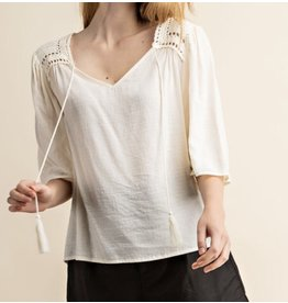 LATA Flutter Sleeve Top