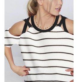 Stripe Knit Cross Cross Strap Top