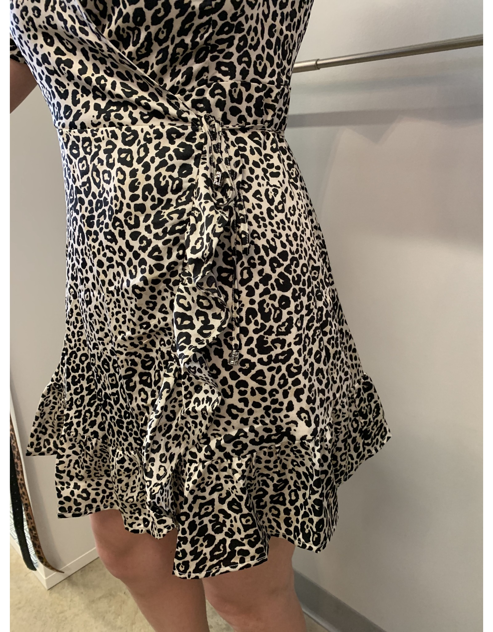 LATA Leopard Ruffle Wrap Dress