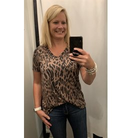 LATA Leopard Jersey Knit U Neck Top