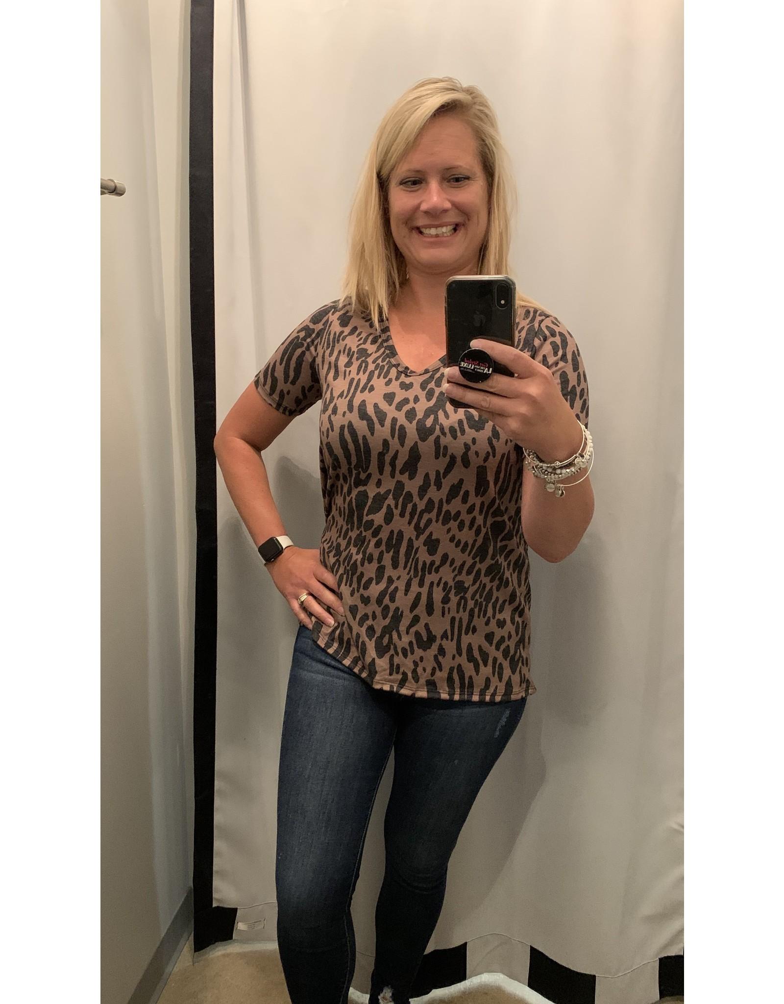 LATA Leopard Jersey Knit U Neck Top