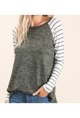 LATA Olive Solid/Stripe Tunic Top