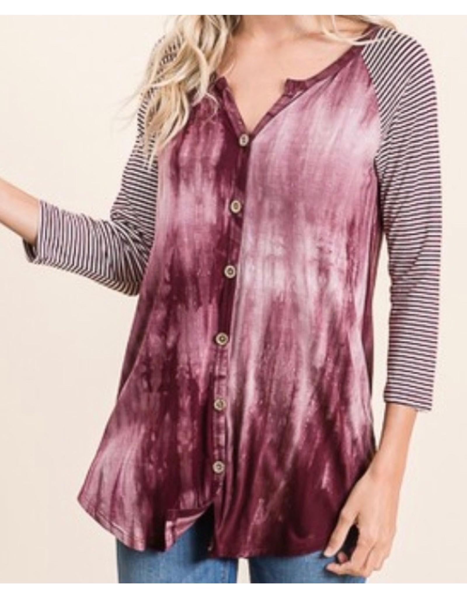 LATA Burgundy Tie Dye Stripe