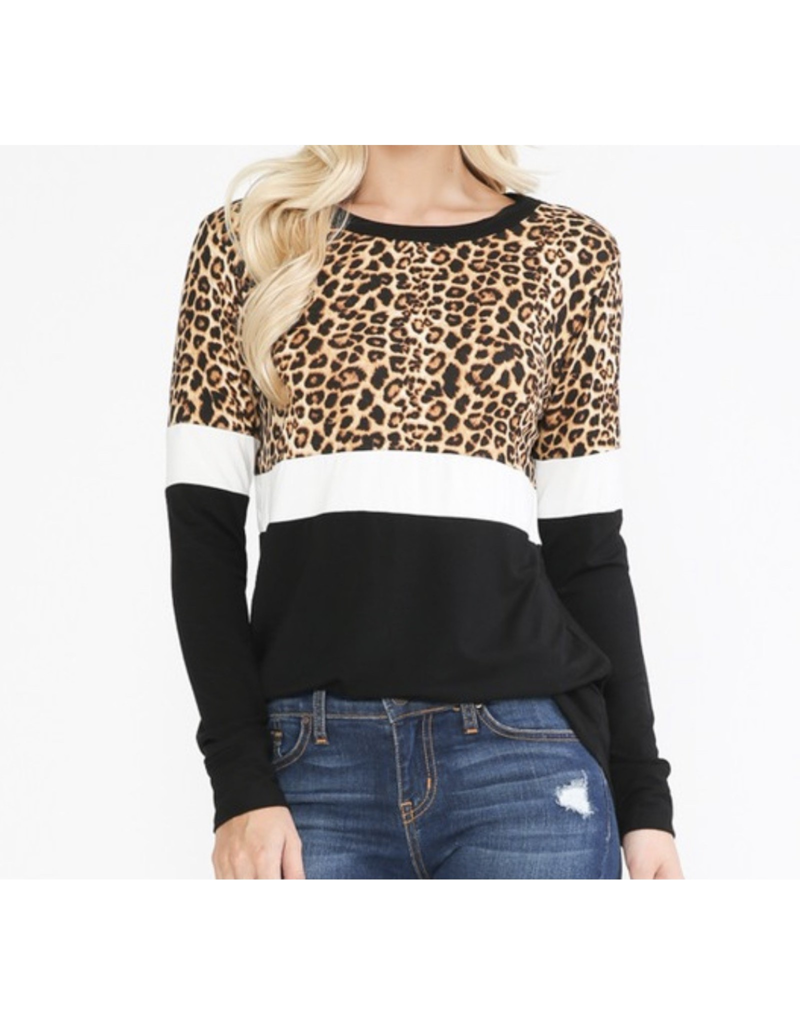 LATA Leopard Color Block Long Sleeve