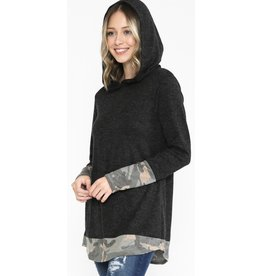 LATA Hoodie Top with Camo Contrast