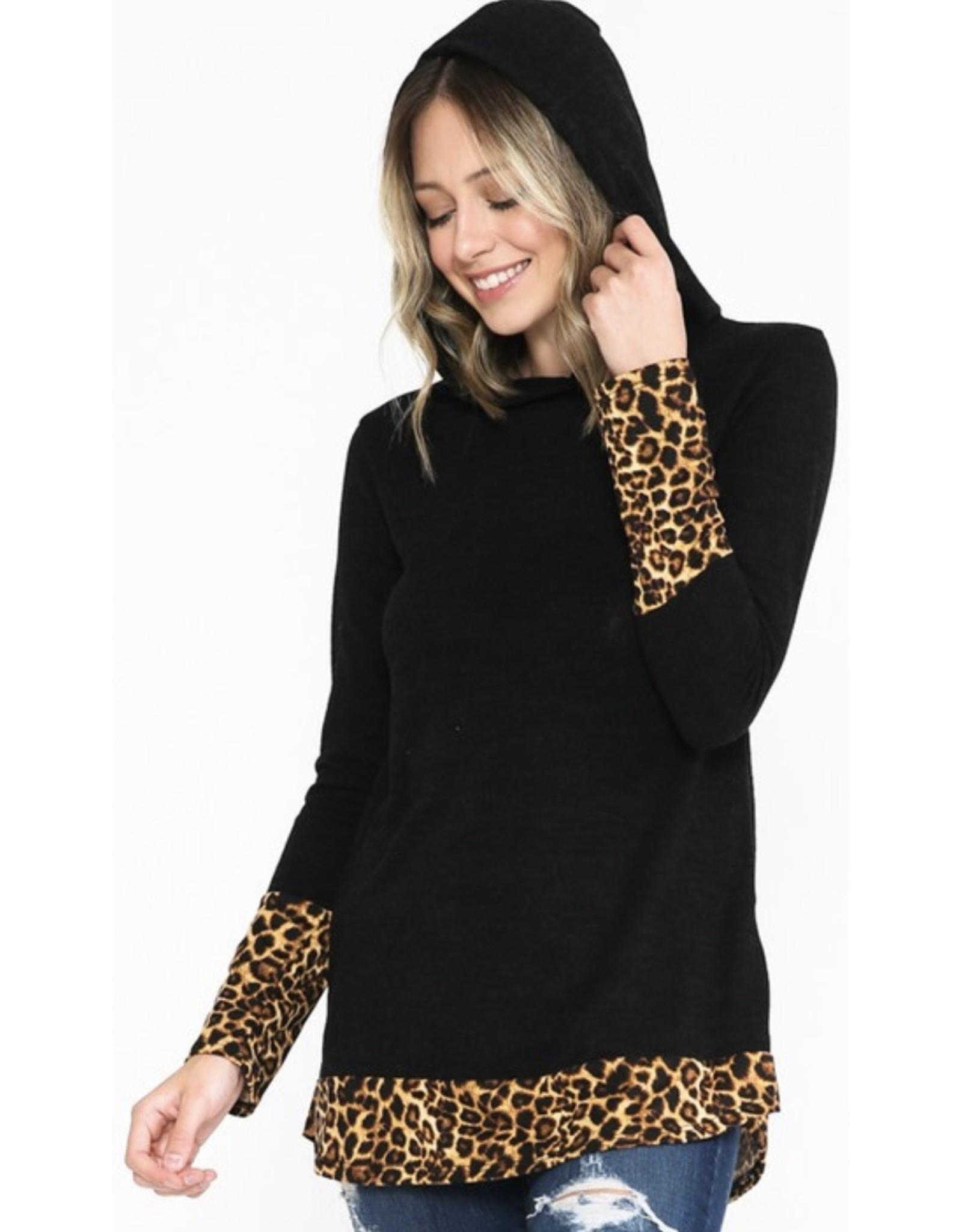 LATA Leopard Detail Hoodie