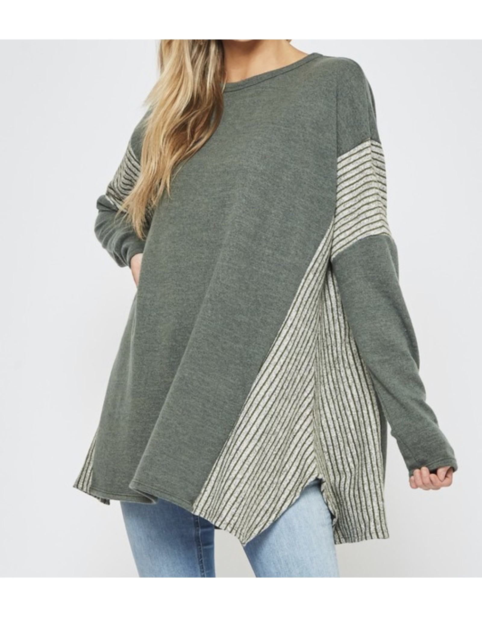 LATA Heather Stripe Sweater