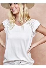 LATA Slub knit ruffle sleeve top