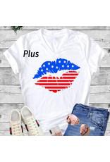 LATA Plus American Flag Kiss Tee